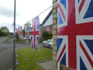 Photograph of flags in garden