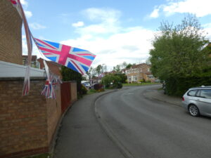 Photograph of flags in streetscene