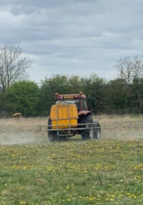 Photograph of Cricket ground being sprayed with weedkiller