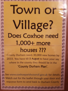 Poster asking if Coxhoe needs 1000 plus new houses