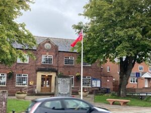 Merchant Navy Day flag flying outside Village Hall 3 September 2020