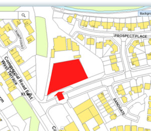 Map of Coxhoe showing potential parking area at Commercial Street