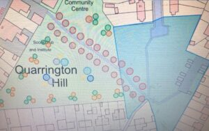 Plan showing where trees could be planted on the field behind Quarrington Hill Community Centre