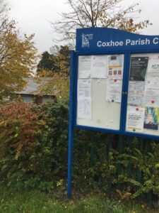 Parish Council noticeboard outside Quarrington Hill Community Centre