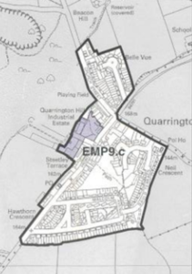 map showing boundary of Quarrington Hill village from 2004 City of Durham Plan