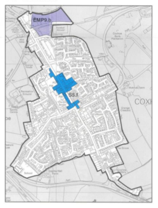 plan of potential boundary settlement round Coxhoe village