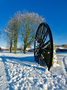 Blue skies and miners wheel in Coxhoe